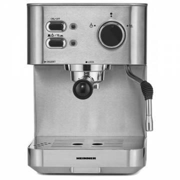 Espressor Heinner HEM-1050SS, 20 bar, 1050 W, 1.5 L, filtru dublu din inox, plita calda, Inox