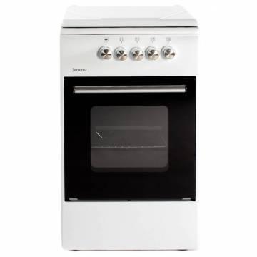 Aragaz pe gaz Serreno SER 5501A/G1, 4 arzatoare, dispozitiv siguranta plita si cuptor, latime 50 cm, alb