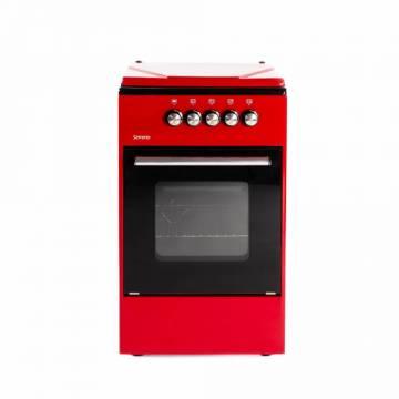Aragaz pe gaz Serreno SER 5501R/G1, 4 arzatoare, dispozitiv siguranta plita si cuptor, latime 50 cm, Rosu