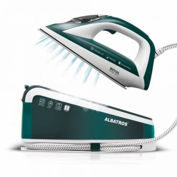 Statie de calcat Albatros Royal Steam Care Green, 3000 W, 8 bar, 1.5 l, Alb/Verde