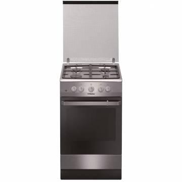 Aragaz Hansa FCGX520509, 4 arzatoare, Gaz, Aprindere electrica, Grill, Rotisor, Gratare fonta, 50 cm, Inox