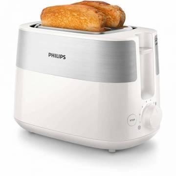 Prajitor de paine PHILIPS HD2515/00, 830 W, 2 fante, functie dezghetare, Alb/Inox