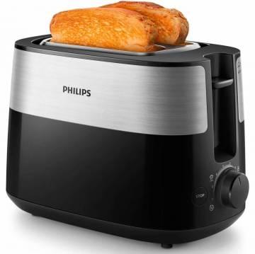 Prajitor de paine Philips HD2516/90, 830 W, 2 fante variabile, functie dezghetare, grilaj incalzire integrat, 8 setari, Negru