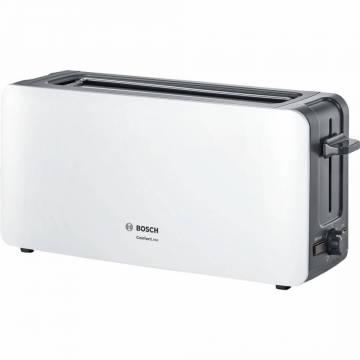 Prajitor de paine Bosch TAT6A001, long slot, 1090W, 2 felii de paine, Alb