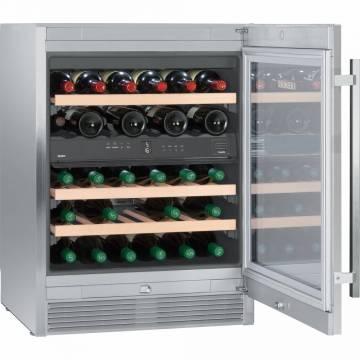 Vitrina de vinuri Liebherr Premium WTes 1672, Capacitate 34 sticle, Clasa A, 2 zone de temperatura, Usa vitrata, H 82.2 cm, Inox