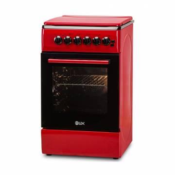 Aragaz LDK 5060 ECAI Red RMV NG, 4 Arzatoare, Siguranta, Cuptor electric, Aprindere, Iluminare, Capac metalic, Rosu