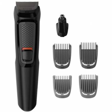 Aparat de tuns barba Philips Multigroom 6 in 1 MG3710/15, Acumulator, 1-5 mm, Negru