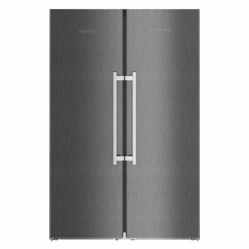 Side by side Liebherr SBSbs 8683, 629 L, No Frost, BioFresh, Display electronic, SuperCool, Functie vacanta, IceMaker, Alarma usa, H 185 cm, A+++, BlackSteel