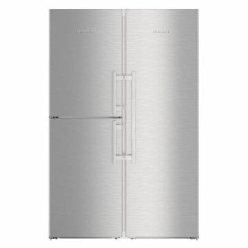Side by side Liebherr SBSes 8483, 688 L, No Frost, BioFresh, Display electronic, SuperCool, Functie vacanta, IceMaker, Raft sticle, H 185 cm, A+++, Inox