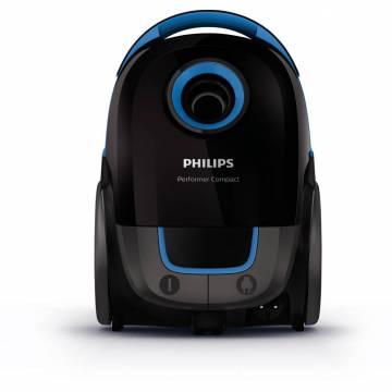 Aspirator cu sac Philips Performer Compact FC8371/09, 3 l, Tub telescopic, 750 W, Negru/Albastru