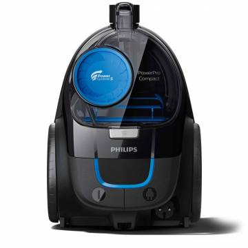 Aspirator fara sac Philips PowerPro Compact FC9331/09, PowerCyclone 5, Perii TriActive, Parchet, Filtru Anti-Alergic ECARF, Negru