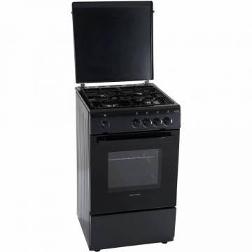 Aragaz Heinner HFSC-V50BK, 4 arzatoare, Gaz, Siguranta plita/cuptor, Negru