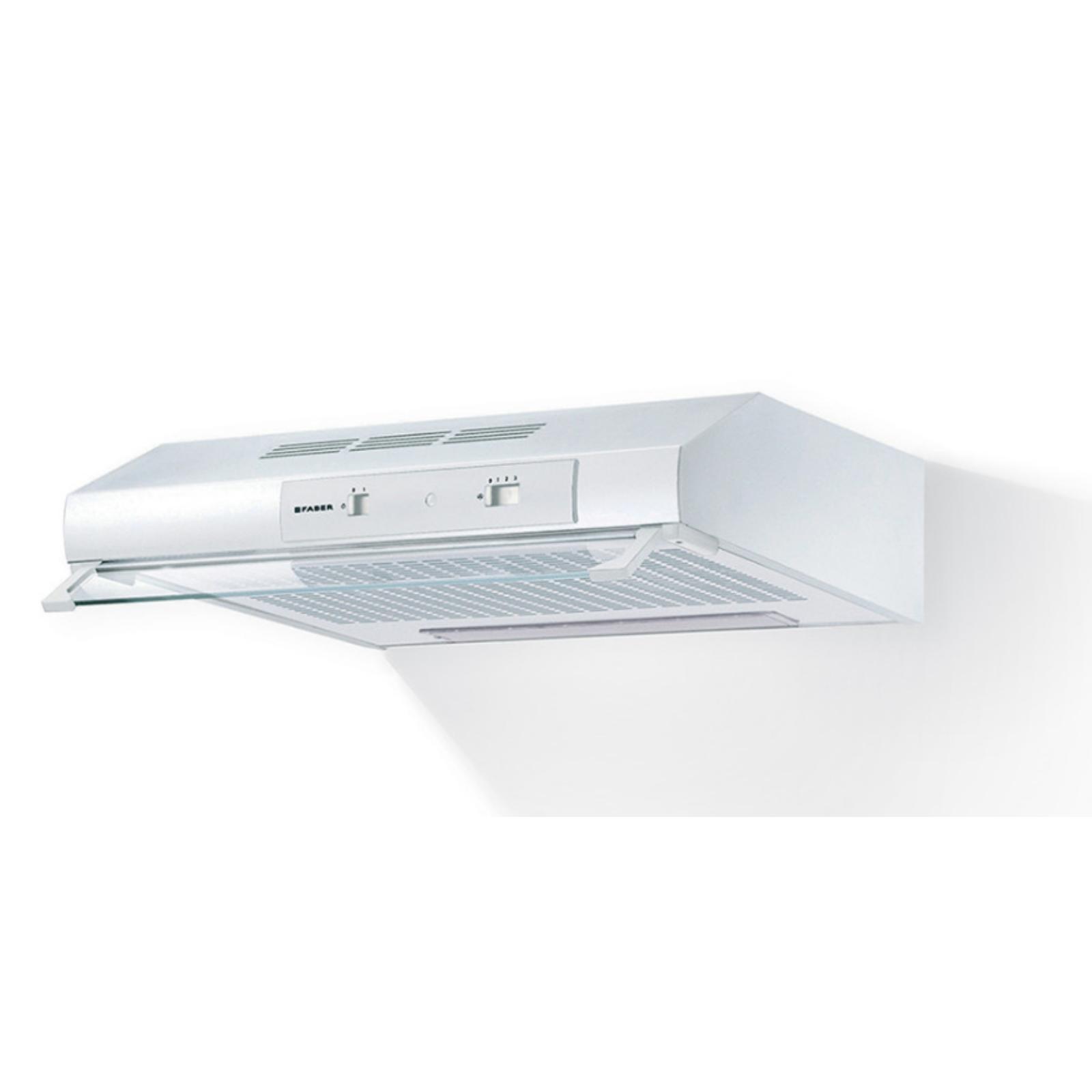 Hota traditionala Faber 741 BASE W A60 FB EXP, 60 cm, 235 m3h, 69 dB, filtru sintetic, Iluminare LED, control slide, 3 trepte, Alb
