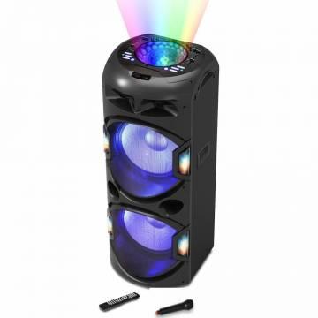 Boxa activa portabila AKAI DJ-BY4L, Discoball, Bluetooth, USB, SD card, Radio FM, microfon wireless incluse