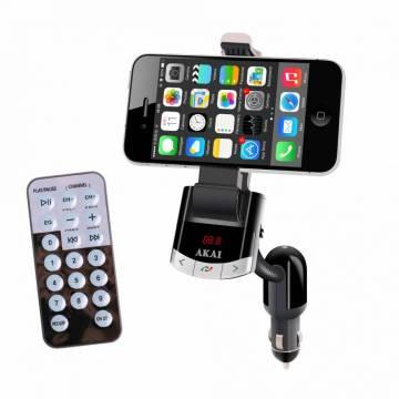 Modulator FM AKAI FMT-8118BT cu suport telefon, Bluetooth, functie incarcare telefon si handsfree, telecomanda