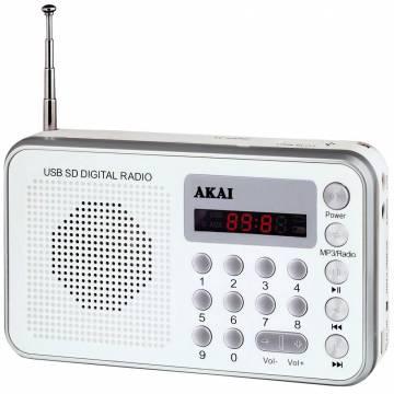 Radio portabil Akai DR002A-521, USB, Alb