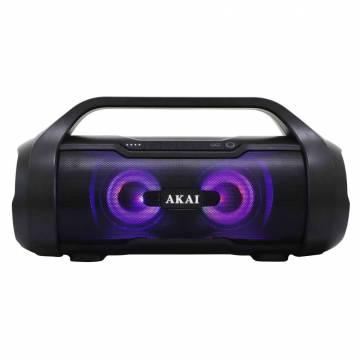 Boxa portabila activa Akai ABTS-50, 30 W RMS, Bluetooth, USB, Micro SD card reader, Aux in, radio FM, rezistenta la apa IPX5, Negru