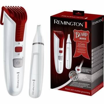 Set cadou Aparat de tuns barba + Trimmer pentru nas si urechi Remington Beard Boss Limited Edition MB4122, 0,4-18 mm, Lame zimtate CaptureTrim din otel inoxidabil, Husa, Alb