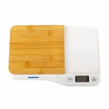 Cantar de bucatarie cu tocator Daewoo DKS10W, 5 kg, 1 g, tocator din bambus, LCD, Alb