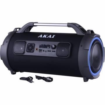 Boxa portabila cu trei difuzoare bazooka AKAI ABTS-13K cu BT , USB, Micro SD card , FM Radio , Aux-in 3.5mm ,Functie Karaoke ,Baterie reincarcabila, Lumini Led , Maner aluminiu