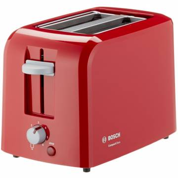 Prajitor de paine Bosch TAT3A014, 980 W, 2 felii, Rosu