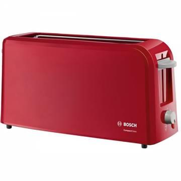Prajitor de paine Bosch TAT3A004, long slot, 980W, 2 felii de paine, Rosu