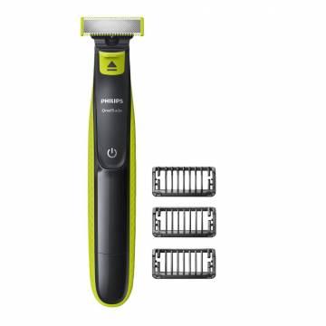 Philips OneBlade QP2520/20 Aparat hibrid de barbierit si tuns barba, 3 piepteni, Acumulatori, Negru/Verde + Nivea Men Deep CADOU