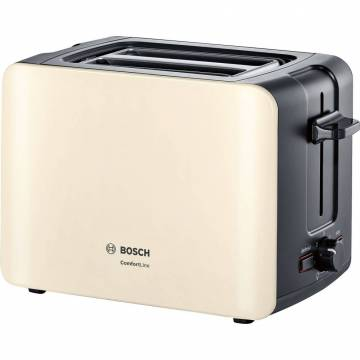 Prajitor de paine Bosch TAT6A117, 1090 W, 2 felii, Selector alegerea gradului de prajire, Functie dezghetare, Crem