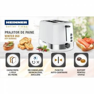Prajitor de paine Heinner HTP-850WHSS, 850 W, 7 nivele de rumenire, 3 functii, Alb/Inox