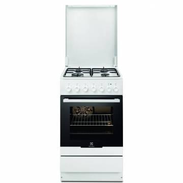 Aragaz Electrolux EKK52550OW, 4 arzatoare gaz, Mixt, Cuptor electric, Aprindere electrica, Grill, Clasa A, 50 cm, Alb