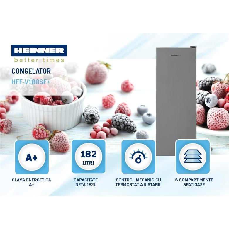 Congelator Heinner HFF-V188SF+, 182 l, Clasa A+, 6 sertare, Control mecanic, H 145.5 cm, Argintiu