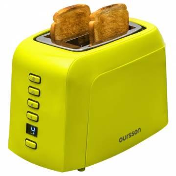 Prajitor de paine Oursson TO2145D/GA, 800 W, 2 felii, 7 nivele de rumenire, Verde