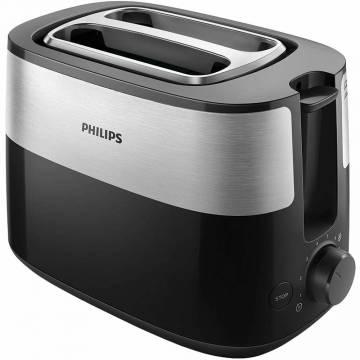 Prajitor de paine Philips HD2515/90, 830 W, 2 fante variabile, functie dezghetare, 8 setari, Negru