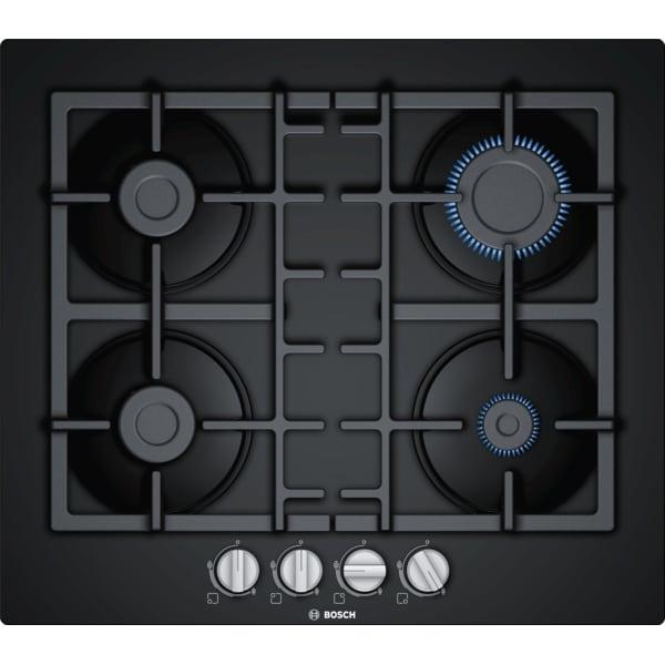 Plita incorporabila Bosch PNP6B6B90, Gaz, 4 Arzatoare, Aprindere electrica, Gratare fonta, 60 cm, Sticla neagra