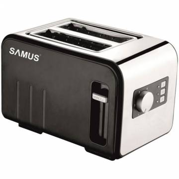 Prajitor de paine Samus Daily, 800 W, 2 felii, functie decongelare, functie reincalzire, 6 trepte putere, negru