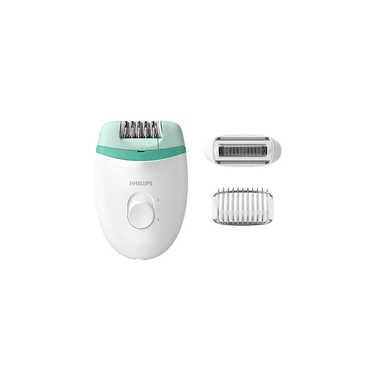 Epilator Philips Satinelle Essential BRE245/00, 2 viteze, 2 accesorii, retea, alb-verde
