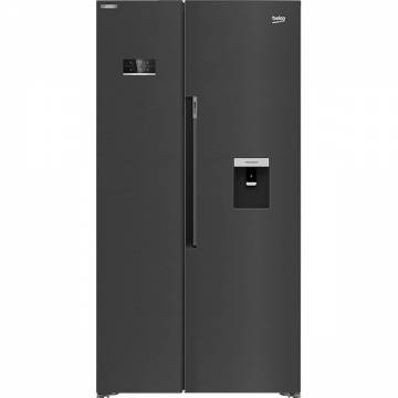 Side by Side Beko GN163240ZXBRN, NeoFrost Dual Cooling, 576 l, H 179 cm, Clasa E, Dozator apa, dark inox