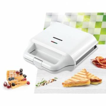 Sandwich maker Heinner SM-2H700WH, 700 W, 2 placi detasabile antiadezve: waffle, grill, Alb