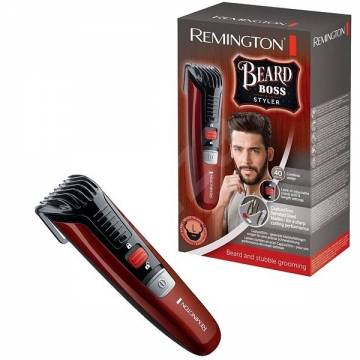 Aparat de tuns barba Remington Beard Boss Styler MB4125, 11 pre-setari lungime, Autonomie 40 minute, Rosu/Negru
