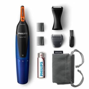 Trimmer pentru nas/urechi Philips NT5175/16, baterii, otel inoxidabil, 2 piepteni pentru sprancene, Negru/Albastru