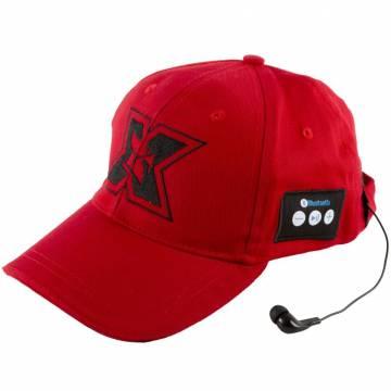Sapca sport cu casti handsfree Seriuox, Bluetooth, 120 mAh, Rosu