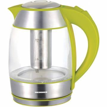 Fierbator Heinner HEK-TF2200GR cu filtru de ceai, 1.8l, Verde, sticla